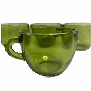 VTG Green Glass Mugs (4) Set